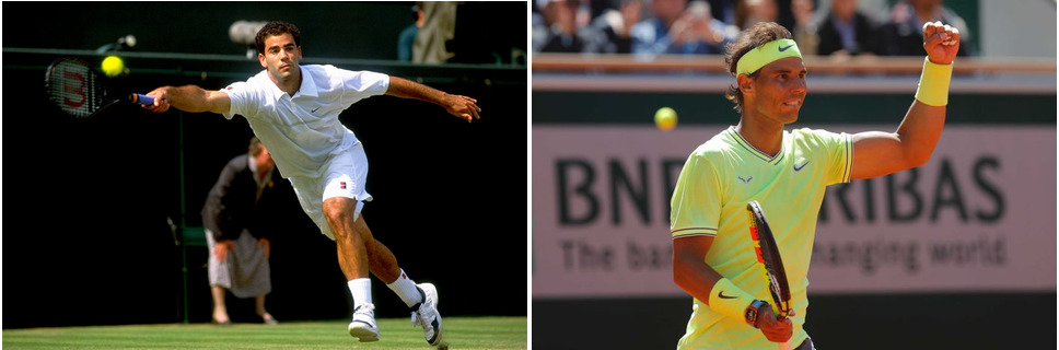 <i>Rafael Nadal at the French Open, Pete Sampras at Wimbledon. Photograph: Mike Hewitt/Getty Images (Sampras), AP: Michel Euler (Nadal)</i>
